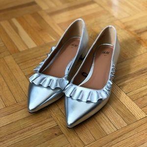 Silver Ruffle Flats